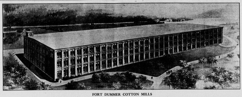 <p>Fort Dummer Cotton Mills. Vermont Phoenix Oct 1911</p>