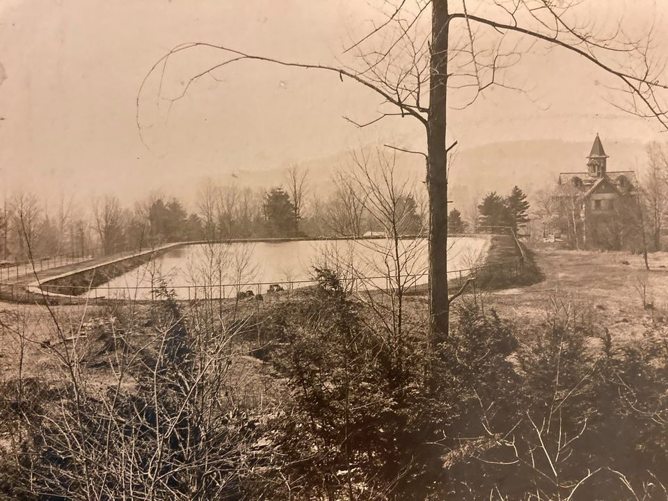 <p>Chestnut Hill Reservoir and Crowley Cottage - courtesy Brattleboro Historical Society</p>