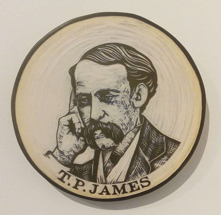 <p>TP James carved portrait in clay by Cynthia Parker Houghton for the Brattleboro Words Project and Brattleboro Words Trail.</p>