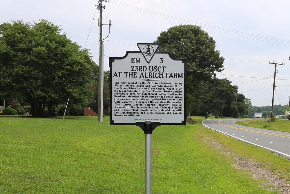 <p>23rd USCT at the Alrich Farm Historical Marker</p>