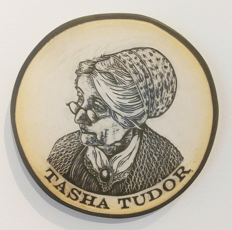 <p>Tasha Tudor portrait carved in clay by Cynthia Parker Houghton for the Brattleboro Words Project &amp; Brattleboro Words Trail</p>
