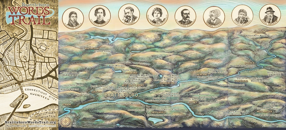 <p>Brattleboro Words Trail Map - Regional (fully open). Artist: Cynthia Parker Houghton</p>