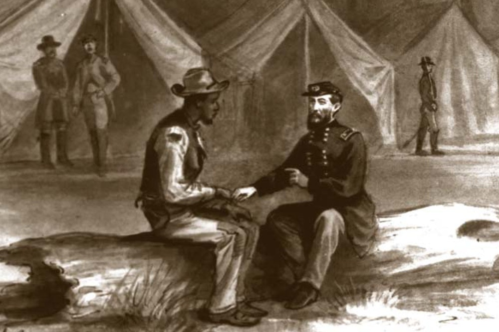 <p>Gen. Phil Sheridan gives Thomas Laws secret instructions for Rebecca Wright.</p>