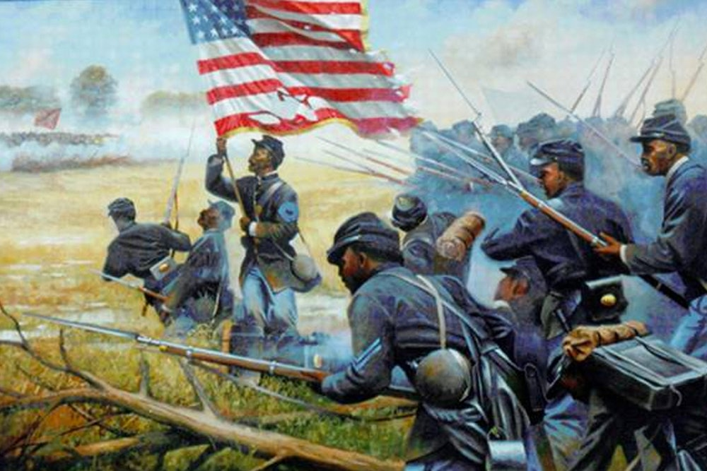 <p>Sgt. Christian Fleetwood seizing the flag at the Battle of New Market Heights.</p>