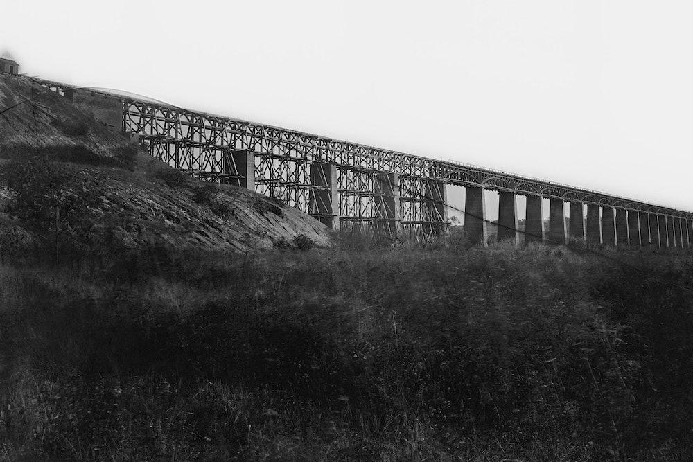 <p>High Bridge across Appomattox River, south side railroad. Farmville, Va., (vicinity) April 1865.</p>