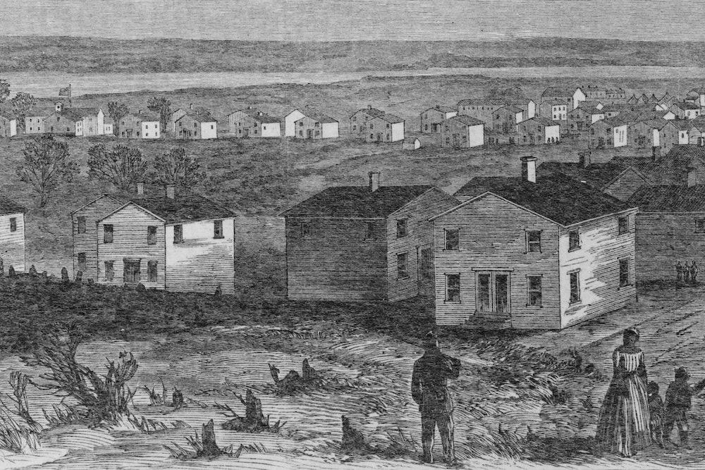 "<p><strong>Detail from illustration entitled ""Freedman's village, Arlington, Virginia"" published in </strong><em>Harper's Weekly, v. 8, 1864 May 7</em><strong>.</strong></p>"