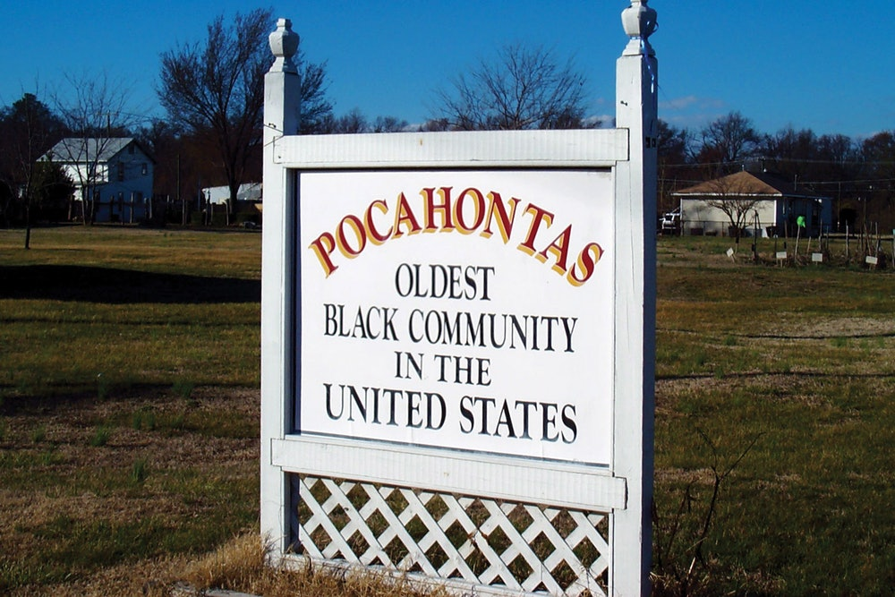 """<p><strong>Pocahontas Island Historic District sign reading """"Pocahontas - Oldest Black Community in the United States.""""</strong></p>"""