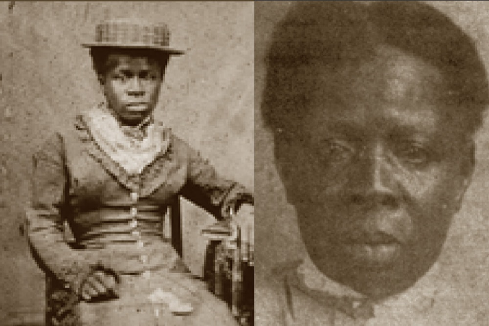 <p>Caroline Terry as a young woman (left) and in old age (right)</p>