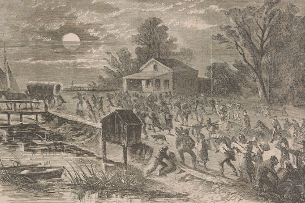 <p>Stampede of slaves from Hampton to Fortress Monroe</p>