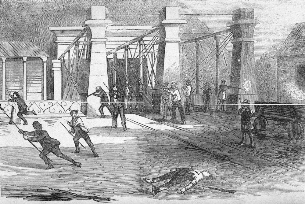 <p><strong>A skirmish at Harpers Ferry between local citizens and militia and the raiders is depicted in this 1859 sketch by R. M. DeWitt. Dangerfield Newby was the first raider to die, killed in a street fight.</strong></p>