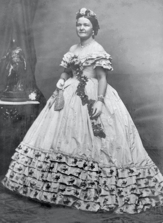 <p>Mary Todd Lincoln in 1861 wearing what is believed to be the ball gown that Keckly made for Lincoln's Inaugural festivities.</p>