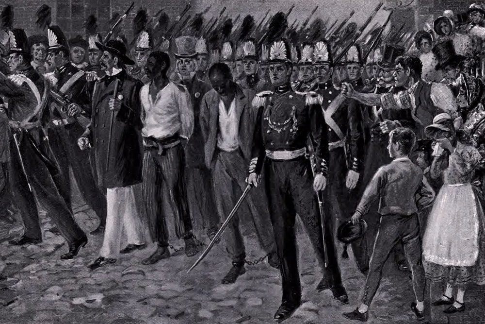 """<p>""""The runaway slaves, Anthony Burns and Thomas Sims"""" by Edmund Henry Garrett. <strong>Graphic accompanied by cation reading</strong>: """"With pinioned arms and manacled feet they marched between files of soldiers to a steamer bound for South Carolina from whence they had fled. Vast throngs of men and women watched the procession, many weeping as they gazed.""""</p>"""