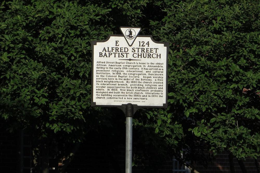 "<p>""Alfred Street Baptist Church, Virginia Historical Marker No. E-124, Alexandria, Virginia"" by Ken Lund (CC BY-SA 2.0)</p>"