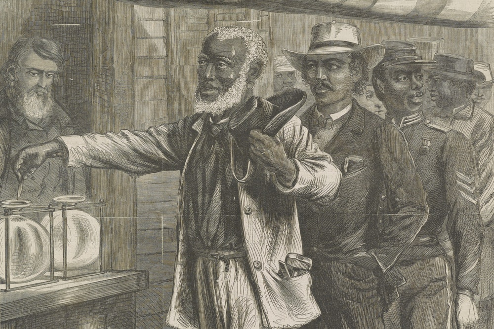 """<p>A detail from A.R. Waud's """"The first vote,"""" originally published in the November 16, 1867 edition of Harper's Weekly.</p>"""