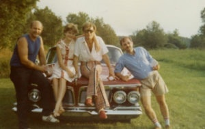 <p>From left to right: Andy Kopkind, Daisy Cockburn, Alexander Cockburn and John Scagliotti at Treefrog Farm, Vermont, 1981. </p><p>Credit: Courtesy of Kopkind Colony</p>