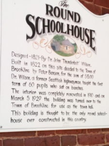 <p>Placard on Round Schoolhouse - photo by Tim Weed</p>