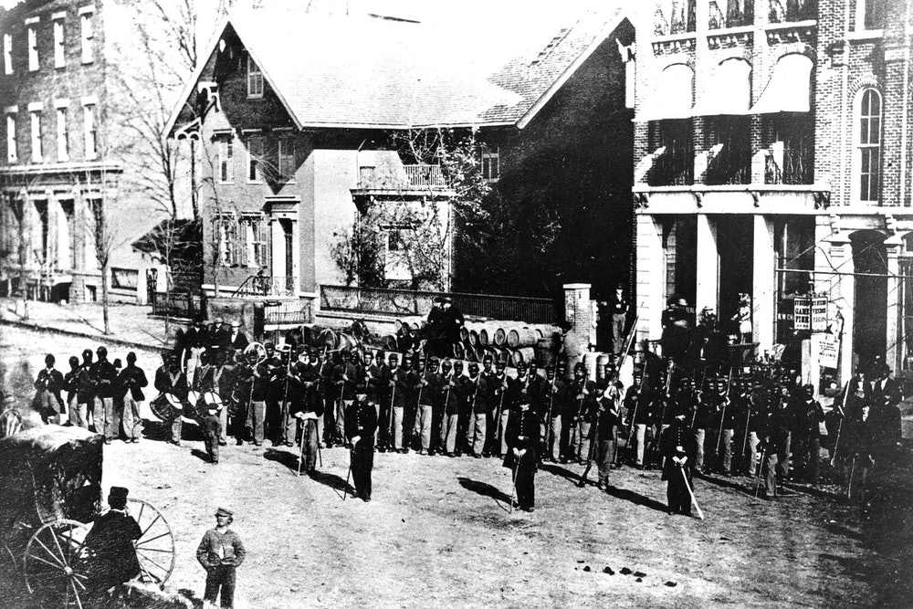 <p>A portion of the 127th Ohio Volunteer Infantry, later re-designated the 5th USCT, in Delaware, Ohio</p>