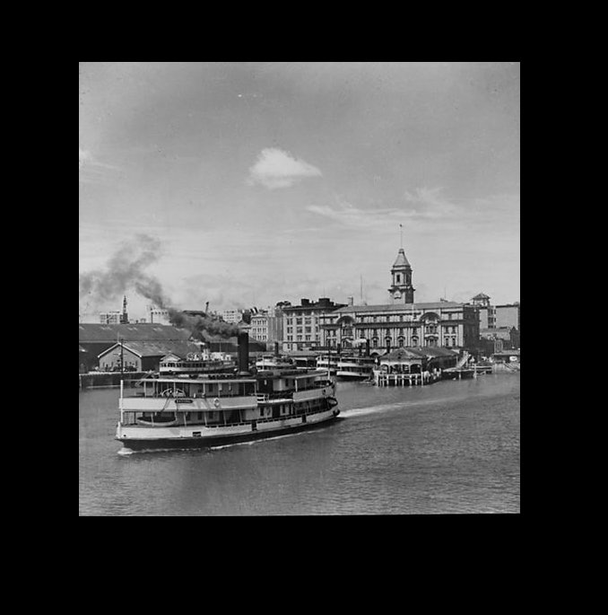 <p>Ferry, Kestrel, leaving Auckland wharf, c1940s. <em>Whites Aviation Ltd :Photographs. Ref: WA-73577-F. Alexander Turnbull Library, Wellington, New Zealand. http://natlib.govt.nz/records/22704018</em></p>