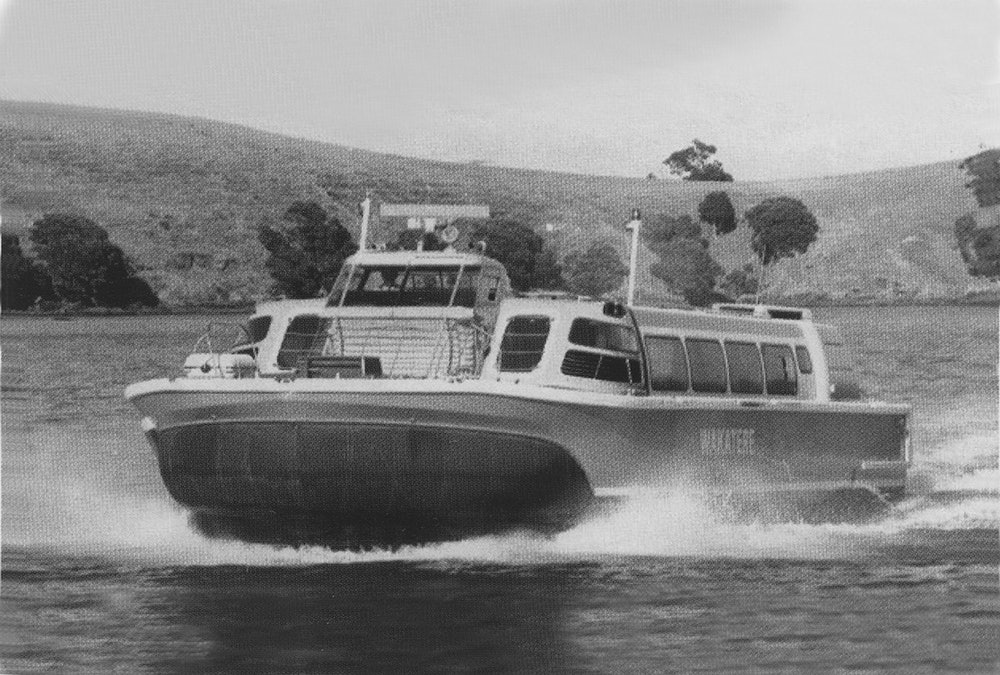 <p>The hovermarine Wakatere arriving at Matiatia, c1978. <em>Stephen Picard, Waiheke Island, Auckland [N.Z.] : RSVP Pub., 2005.</em></p>