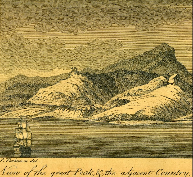 <p>H. M. S. Endeavour approaching the  west coast of New Zealand, c1769. <em>Engraving after Sydney Parkinson, the New Zealand Maritime Museum: Hui Te Ananui A Tangaroa collection.</em></p>