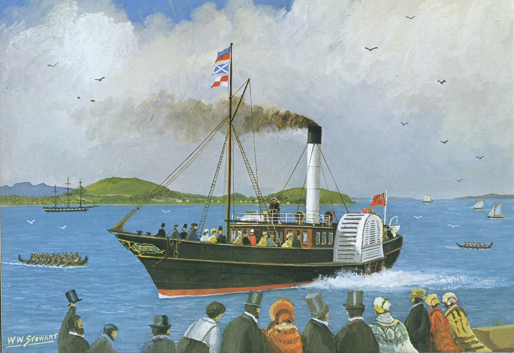 <p>Side wheel paddle steamers, like the <em>SS Governor Wynyard</em>,  were common in the Hauraki Gulf in the late 1800s - and many would have visited Waiheke on excursions. Painting by WW Stewart, from <em>Steam on the Waitemata, AH and AW Reed Publishing, 1972</em></p>