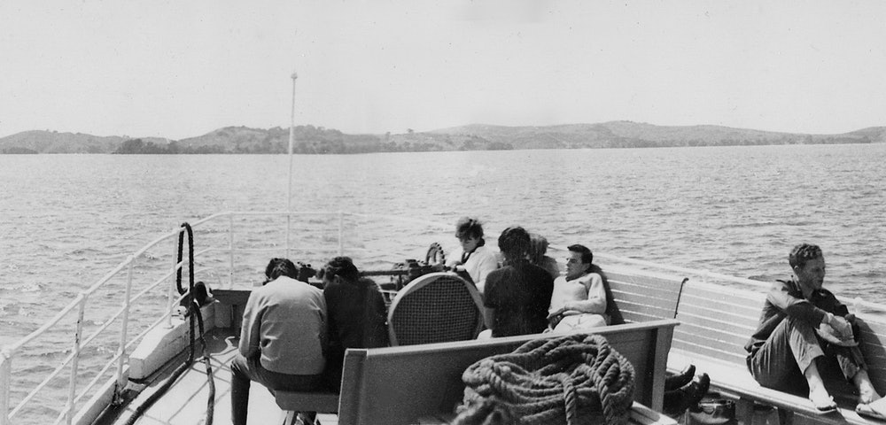 <p>Baroona approaching Waiheke, c1970s. <em>Bruce Croll collection.</em></p>