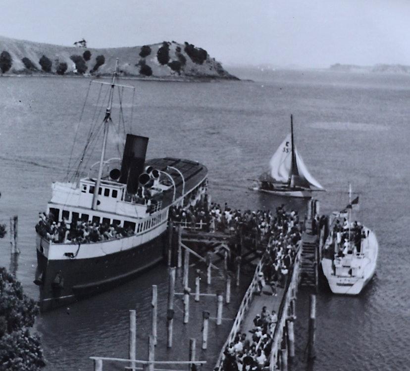 <p>Muritai berthed along side Matiatia Wharf, c1940s. <em>Bruce Croll collection</em>.</p>