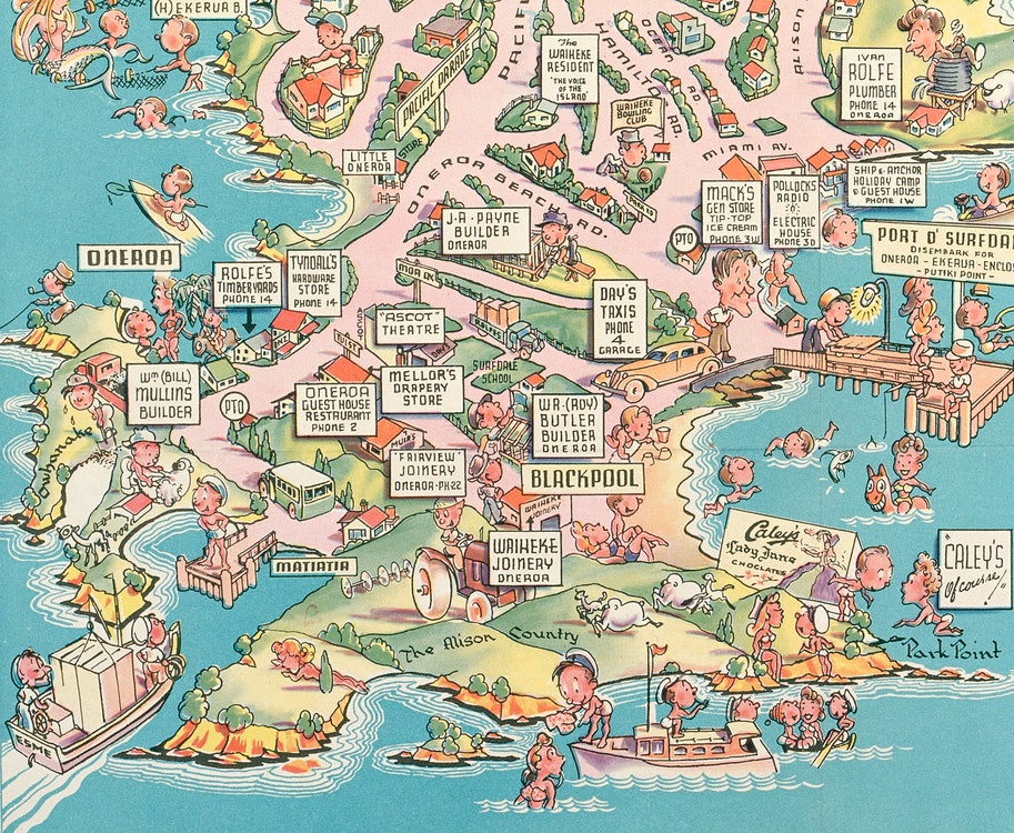 <p>Illustrated map of Waiheke Island, depicting houses, figures engaged in recreational pursuits and business owners. Matiatia wharf andAlison Country can be seen at lower left, c1952. <em>Sir George Grey Special Collections, Auckland Libraries, NZ Map 5173.</em></p>