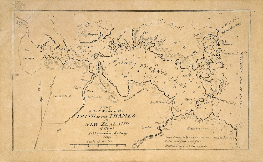 <p>A hydrographic chart of the Tamaki Strait (Prince Regent's inlet), and surrounding land including Waiheke Island, c1839. <em>R. Clint (lithographer), Sir George Grey Special Collections, Auckland Libraries, NZ Map 4602.</em></p>