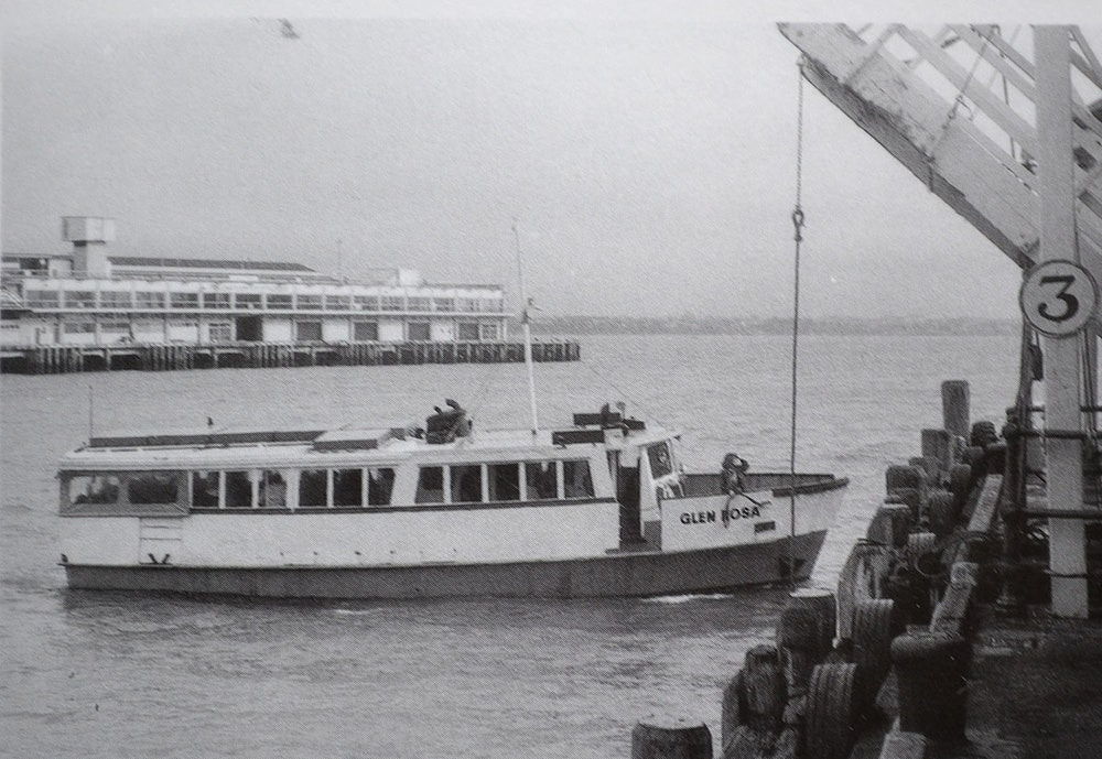 <p>Glen Rosa arriving at Auckland, early 1980s. <em>Image taken from David Balderstons'  The Waiheke Ferries of Auckland.</em></p>