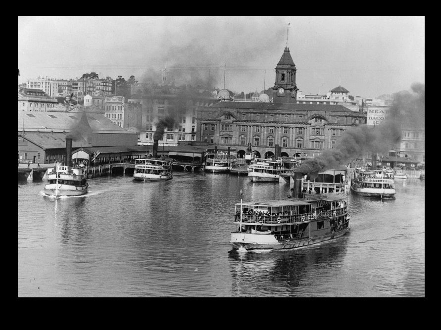 <p>Aa group of ferries by Ferry wharf,with ferries (from left to right) Ngoiro, Peregrine, Condor, Eaglehawk, Makora, Albatross, and Takapuna, c1936. <em>Sir George Grey Special Collections, Auckland Libraries, 4-2935.</em></p>