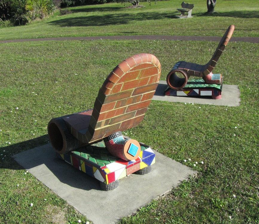 <p><em>Comfort Stops</em> - these surprisingly comfortable seats are by ceramic artist Peter Lange.</p>