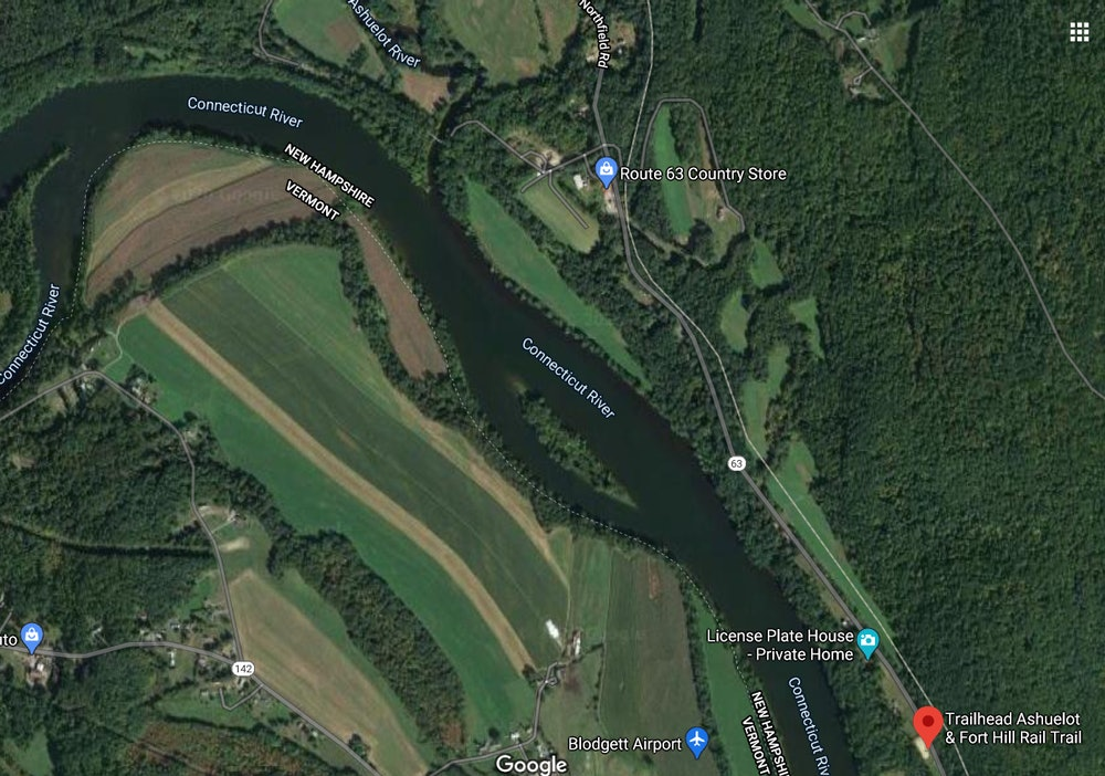 <p>Satellite map view- Trail Heads along CT River</p>