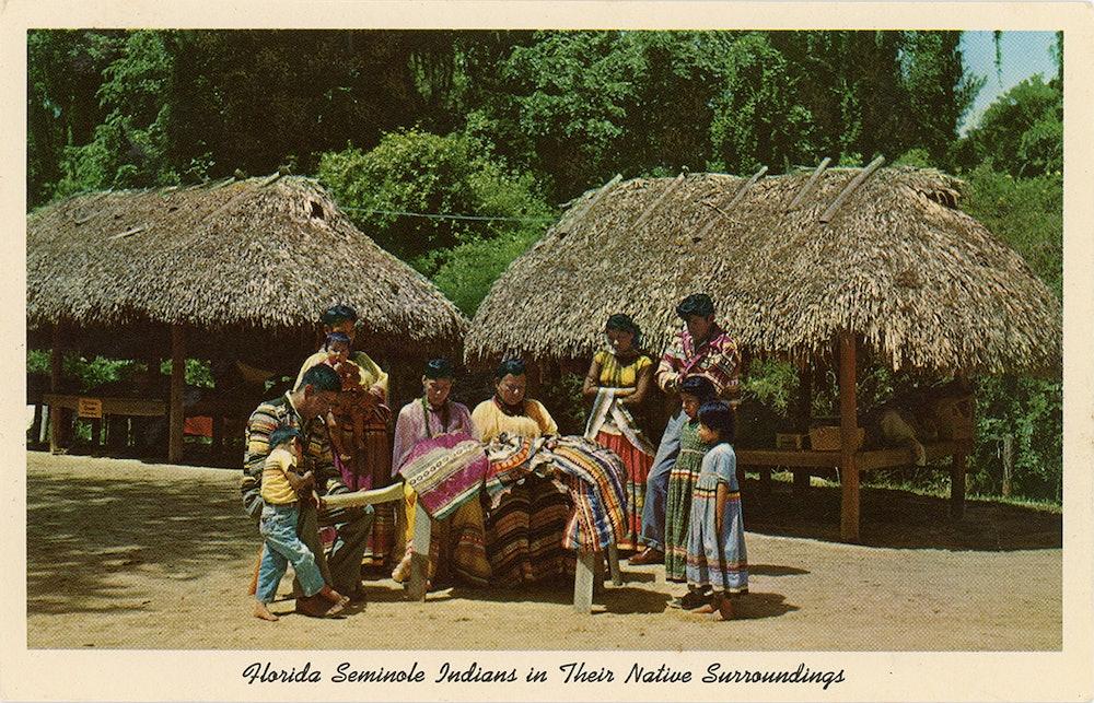 <p>Postcard depicting Seminoles patchwork.</p>