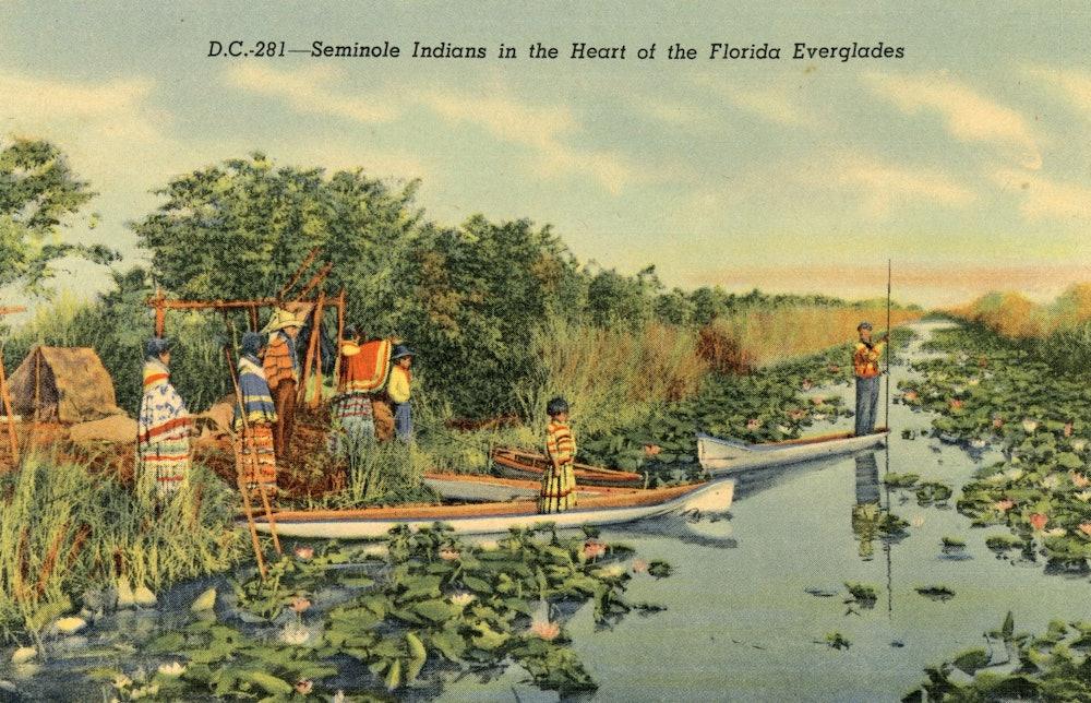 <p>Postcard of Seminole Family dugouts.</p>