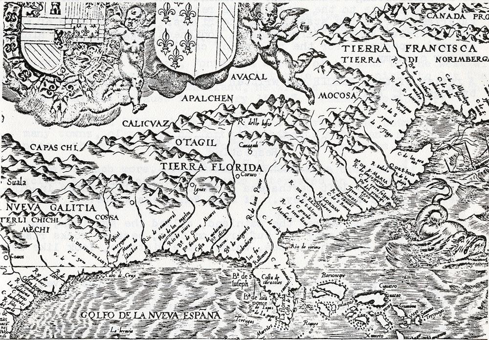 <p>Map of America listing La Florida created by Diego Cutierrez, 1562.</p>