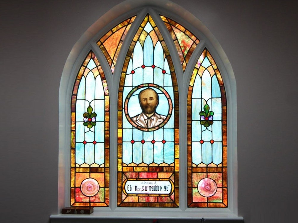 <p>Stained Glass Window of Reverend Madden</p>