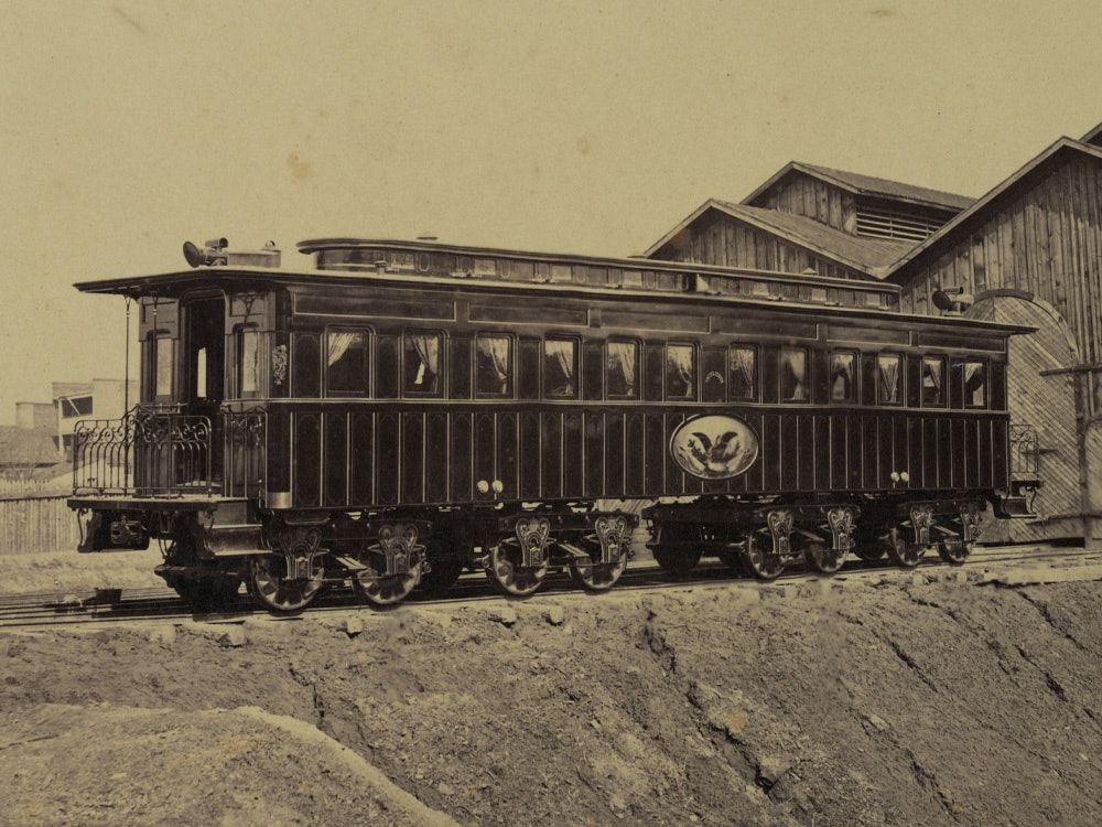 <p>Photograph shows the president's rail car at the Alexandria station. Photograph probably taken in January 1865. The car was later used as Lincoln's funeral car.</p>