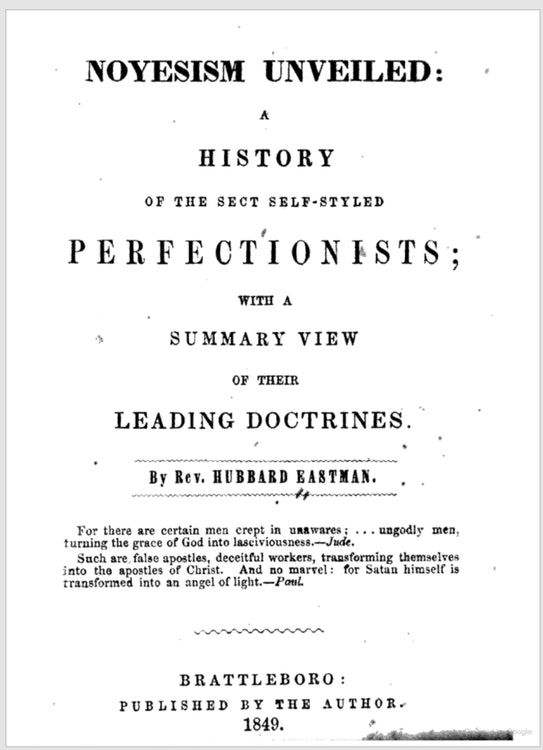 <p>Cover of Pamphlet by Rev. Hubbard Eastman, 1849</p>