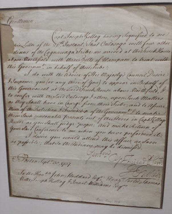 <p>This is from the Brooks Memorial Library -  an original Fort Dummer letter signed by local indigenous people.</p>