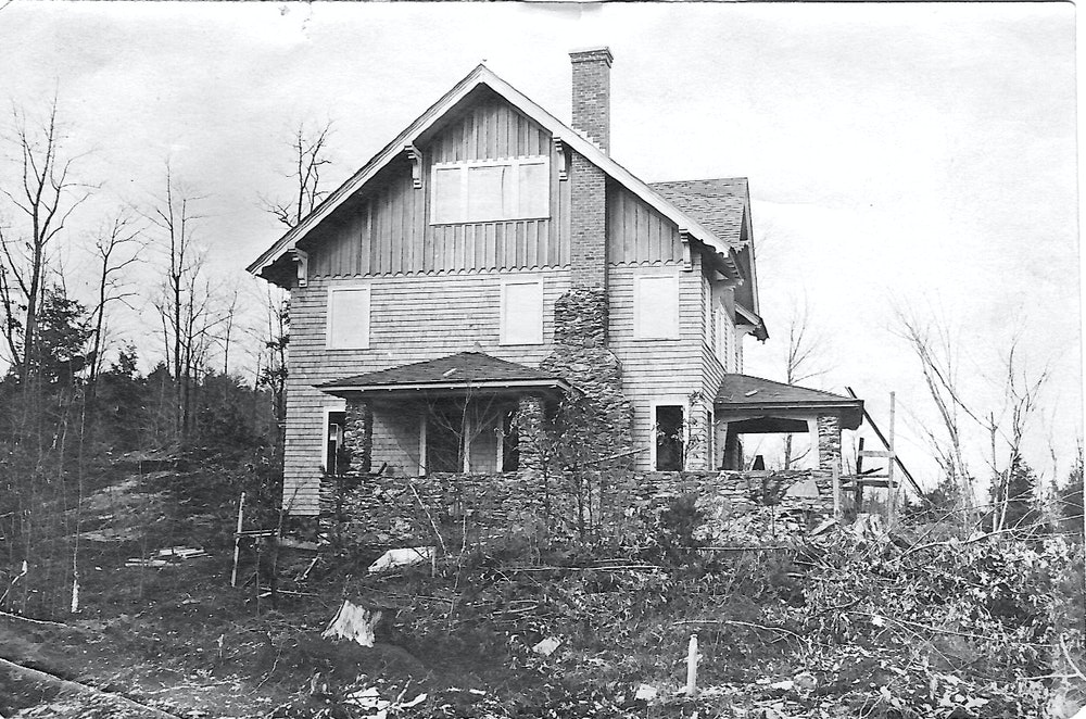 <p>Howard and Amy Rice's home under construction on Chestnut Hill, circa<br>1912. (Rice family photo)</p>