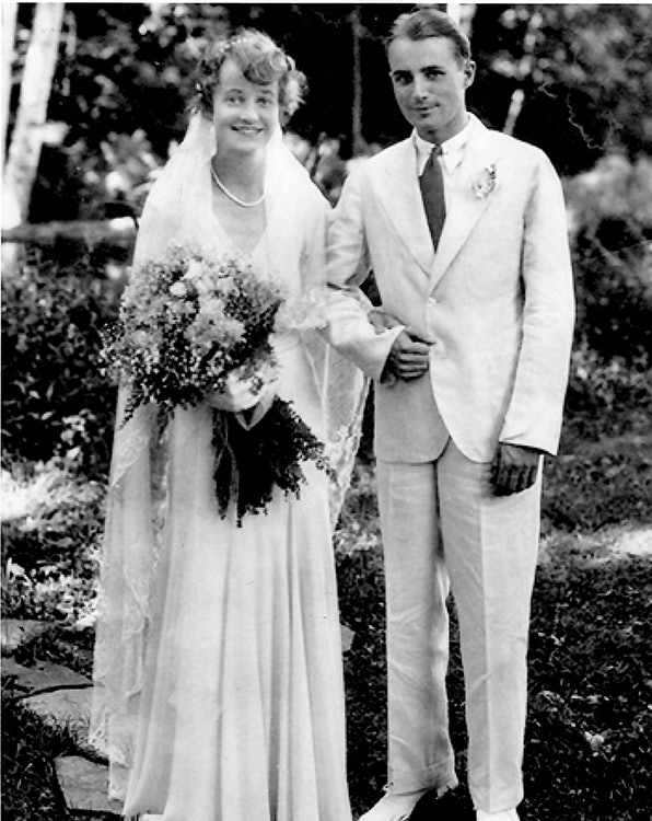 <p>Marion Stetson Rice and John S. Hooper were married in the rose garden behind 105 Chestnut Hill in 1931. The couple were owners of Stephen Daye Press. (Rice/Hooper family photo)</p>