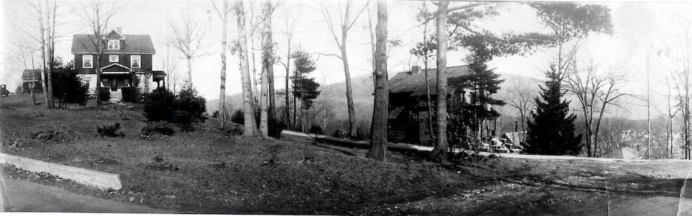 <p>This panoramic view of Chestnut Hill (circa 1914) shows the houses on the east side of the reservoir, listed by owner and date built (from left) Howard C. Rice, 1912-13; A.L. Pettee, 1913; H. Randall, 1914; Carl Cain, 1914; Dr. Wheeler, 1914, and William Richardson, 1914. (Rice family photo)</p>