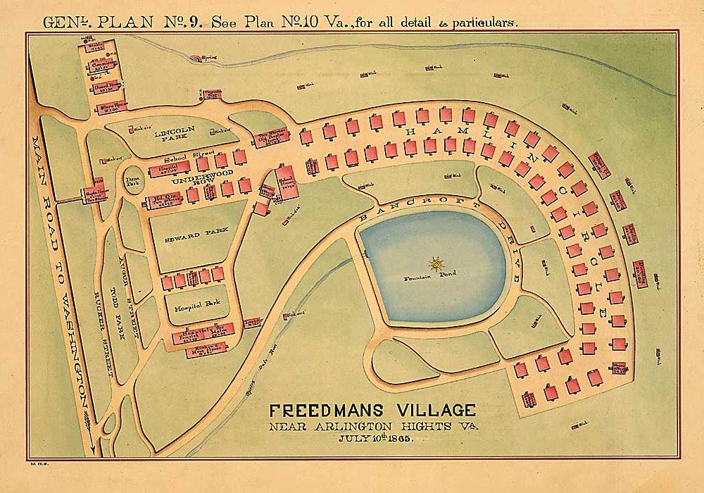 <p>Freedmans Village near Arlington Hights, Va., July 10th, 1865. Genl. [ground] Plan No. 9.</p>